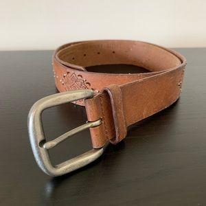 Nine West • Brown Leather Studded Belt Large